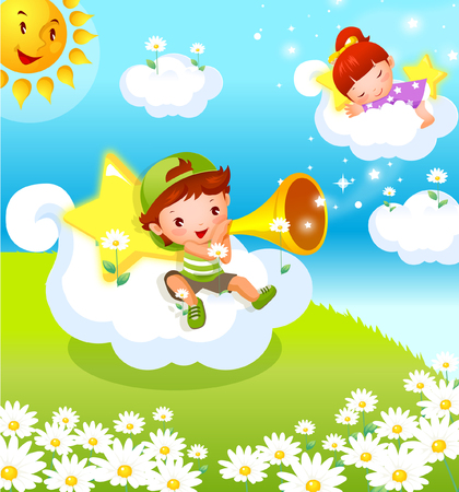 Boy blowing a megaphone with a girl sleeping on the clouds Illustration