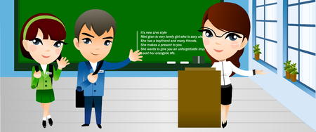 Two students and a teacher standing in a classroom and waving hands Illustration