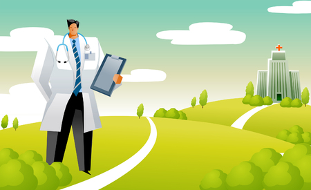 Male doctor holding a clipboard and standing in front of a hospital Illustration
