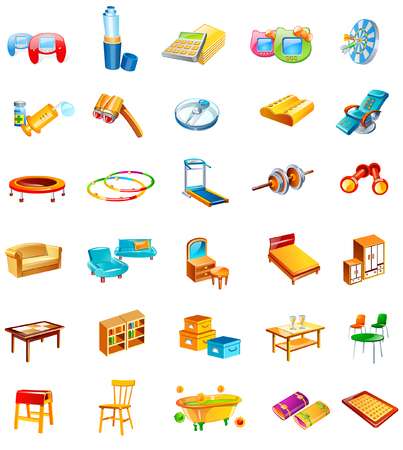 Different types of households objects