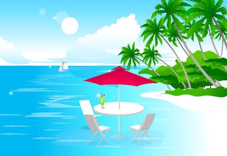 浜辺ビーチ パラソルとビーチ チェア