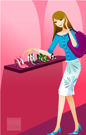retail therapy: Woman standing in a shoe store