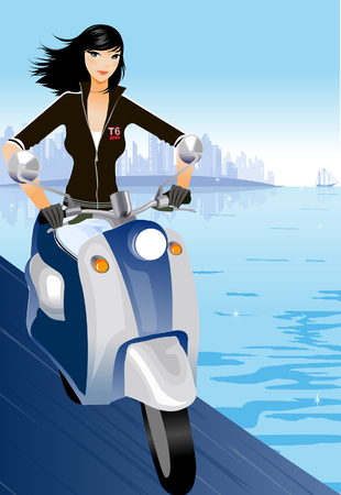 Woman ridding a motor scooter along the sea