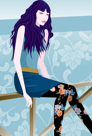 Portrait of a woman sitting on a railing