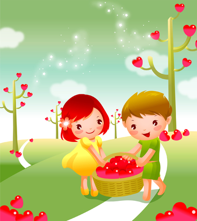 Girl and a boy carrying heart shape fruits in a basket