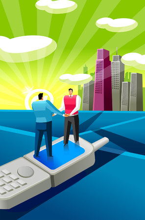 Two businessmen standing on a mobile phone and holding hands Illustration