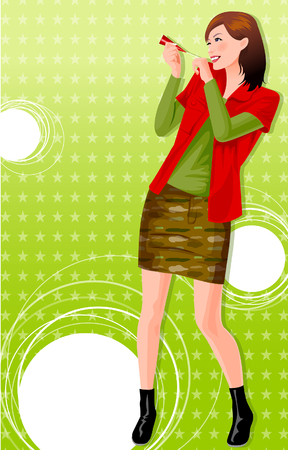 party horn blower: Woman blowing a party horn blower Illustration