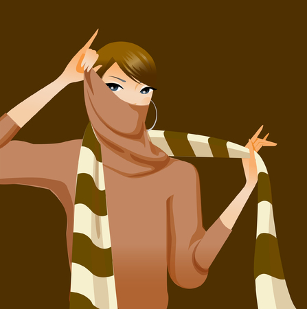 Portrait of a woman covering her mouth with a scarf
