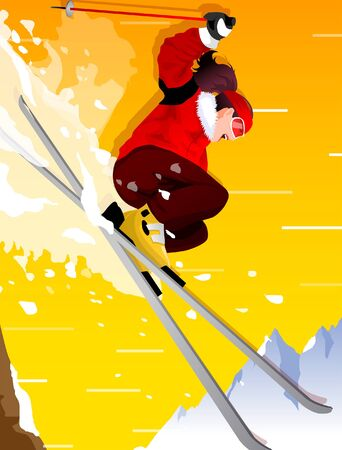Low angle view of a woman skiing Stock Vector - 78439258