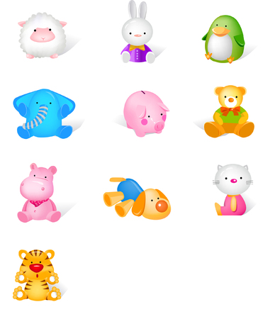 Different stuffed animals Illustration