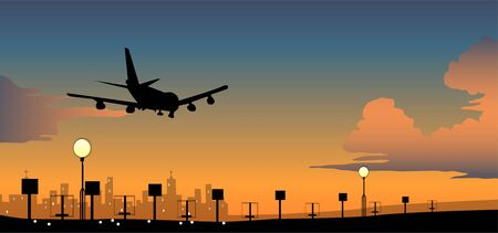 Silhouette of an airplane in flight Ilustrace