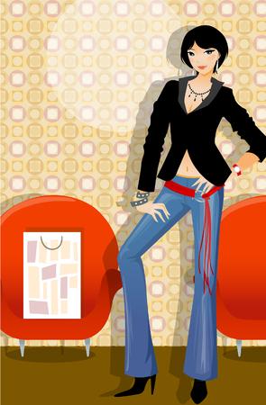 Portrait of a woman standing near a shopping bag in an armchair