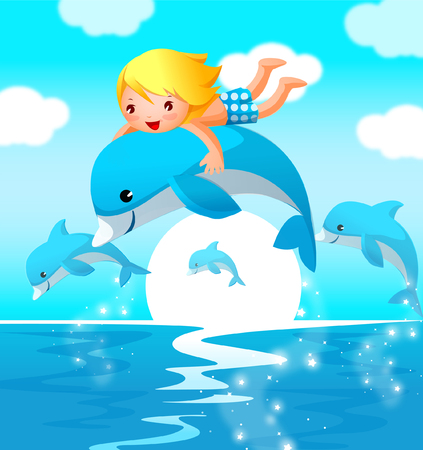 Boy riding a dolphin Illustration