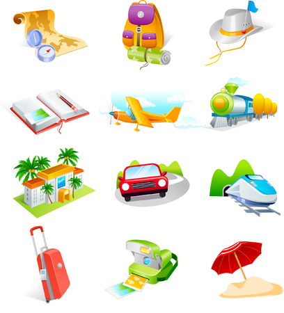 Various traveling favors icons
