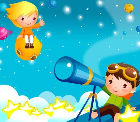 Boy looking through a telescope with a girl sitting on UFO Illustration