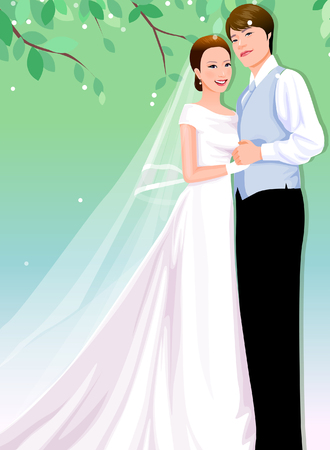 Newlywed couple standing together and holding hands Illustration