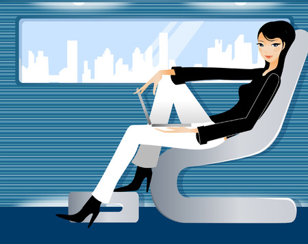 Side profile of a woman sitting in a train with a laptop on her lap Illustration