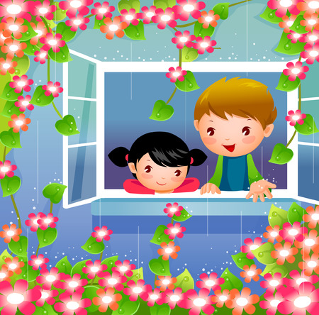 Boy and a girl looking out of a window