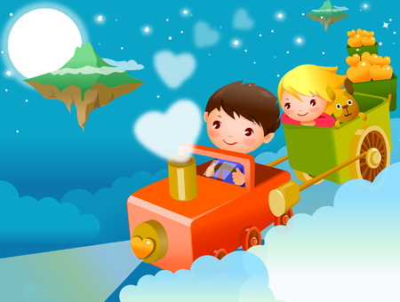 Boy and a girl traveling in a toy train in the sky