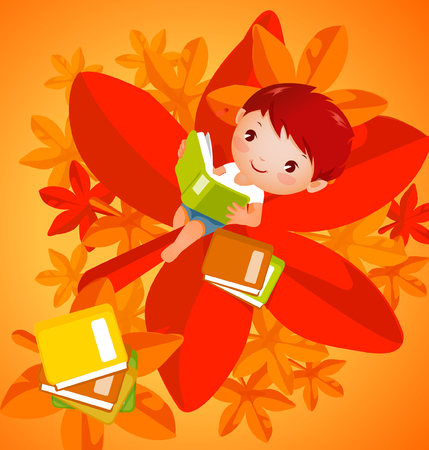 Boy reclining on a leaf and reading a book