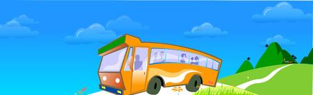 道路を走行するバス  イラスト・ベクター素材