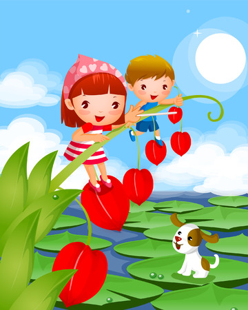 lily pad: Boy and a girl standing on peaches with a dog sitting on lily pads in a lake