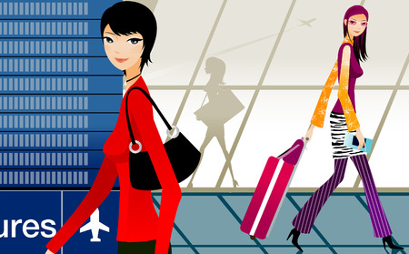 Side profile of two women walking at an airport Illustration
