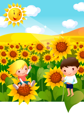 Boy and a girl in a Sunflower field