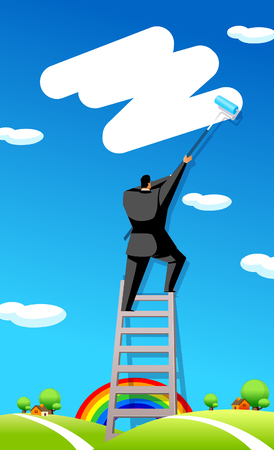 hair roller: Rear view of a businessman painting in the sky Illustration