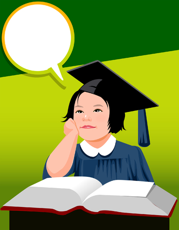 Girl wearing a graduation gown and thinking Illustration