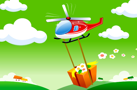 mode of transport: Gift hanging on a helicopter