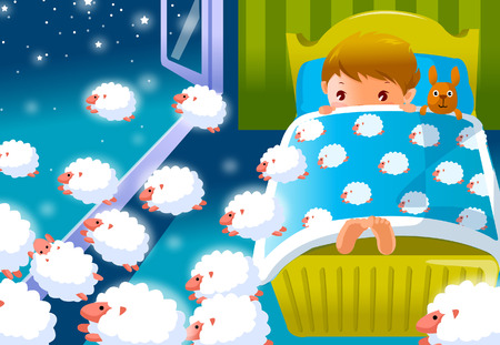 Boy lying on the bed with hedgehogs passing over him
