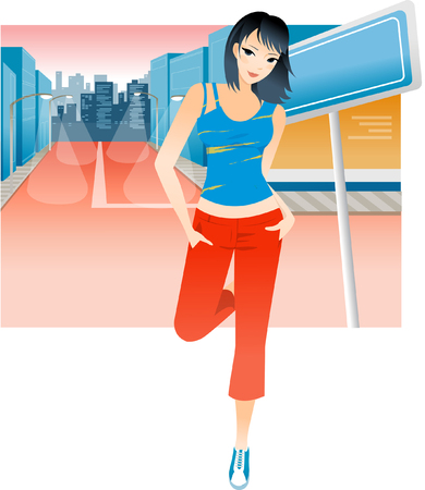 Portrait of a woman standing on the road with her hands in her pockets Illustration