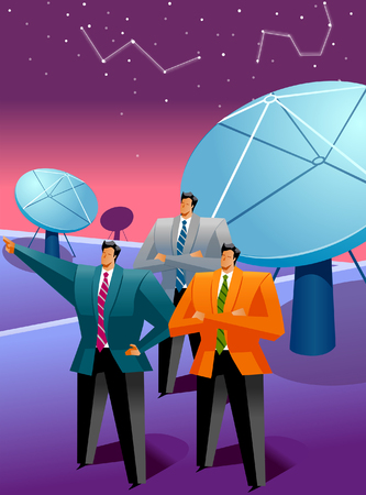 gazing: Three businessmen standing in front of satellite dishes and looking at the sky