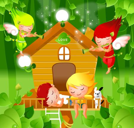 男の子と女の子のフルートを演奏する二人の天使との睡眠  イラスト・ベクター素材