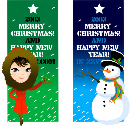 legs crossed: Close-up of a woman and a snowman standing in front of a banner