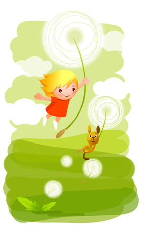 Girl and her dog flying in the air holding flowers Illustration