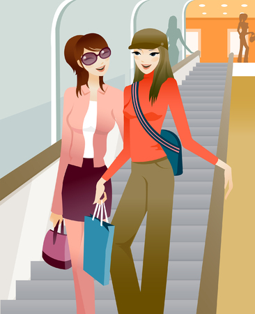 Two women holding shopping bags and walking down a staircase