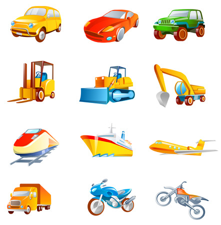 Different types of land vehicles Illustration