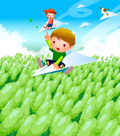 Boy and a girl flying on paper airplanes over a field Illustration