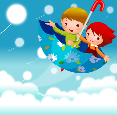 Boy and a girl flying in the sky in an umbrella