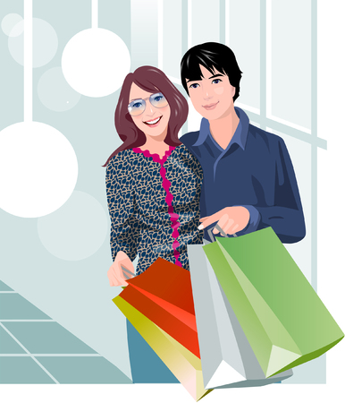 woman looking down: Couple holding shopping bags and smiling Illustration
