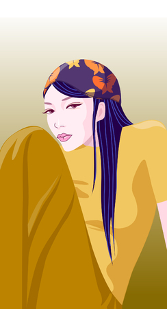 Portrait of a woman sitting Иллюстрация