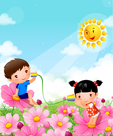 Boy and a girl sitting on flowers and playing with tin can phones Illustration