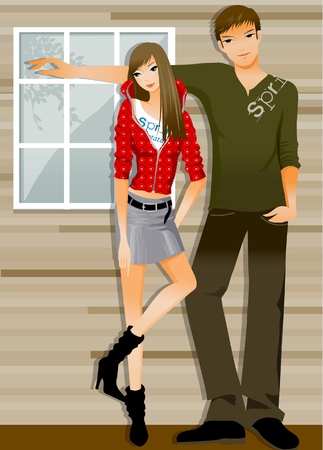 Couple leaning against a wall Illustration