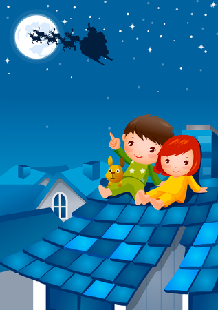 horse sleigh: Boy sitting on the roof and pointing to the sky with a girl sitting beside him Illustration