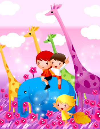 Two boys sitting on an elephant with a girl standing beside them Illustration