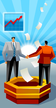 Two businessmen standing on a ledge and shaking hands
