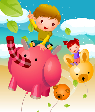 Boy and a girl sitting on animal shaped balloons