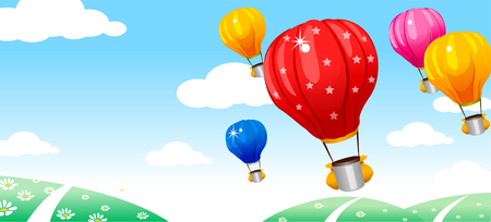 Hot air balloon flying over hills
